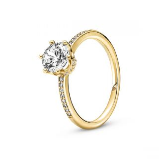 Clear Sparkling Crown Solitaire Ring - Pandora Shine