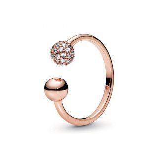 Polished & Pave Bead Open Ring - Pandora Rose