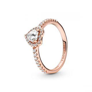Sparkling Elevated Heart Ring - Pandora Rose