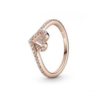 Sparkling Wishbone Heart Ring - Pandora Rose
