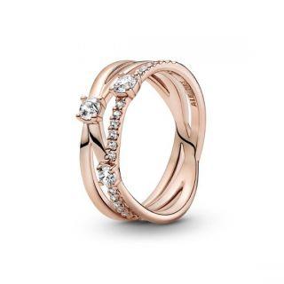 Sparkling Triple Band Ring - Pandora Rose