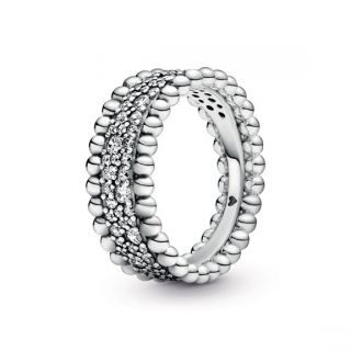 Beaded Pave Band Ring