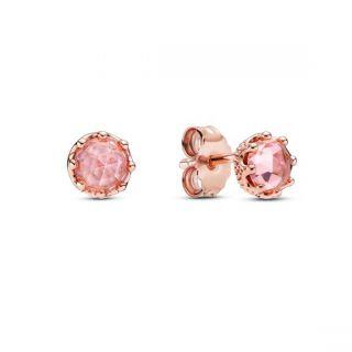 Pink Sparkling Crown Stud Earrings - Pandora Rose