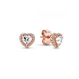 Sparkling Elevated Heart Stud Earrings - Pandora Rose