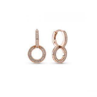 Sparkling Double Hoop Earrings - Pandora Rose