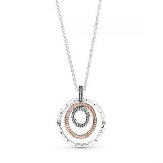 Two-tone Circles Pendant & Necklace - Pandora Rose