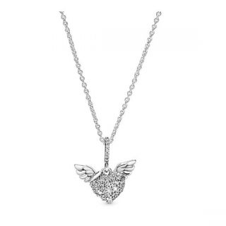 Pave Heart & Angel Wings Necklace