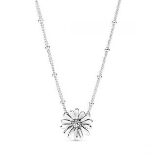 Pave Daisy Flower Collier Necklace