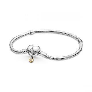 Disney,  Heart Clasp Snake Chain Bracelet - Pandora Shine