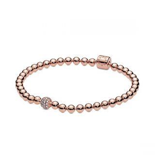 Beads & Pave Bracelet - Pandora Rose