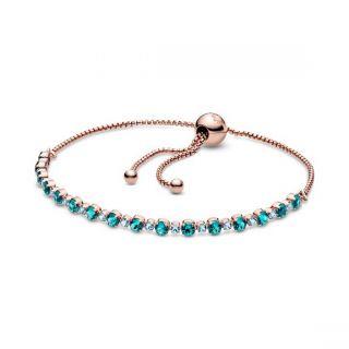 Turquoise Sparkling Slider Tennis Bracelet - Pandora Rose