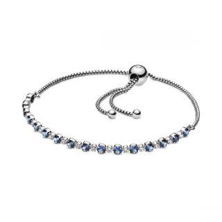 Blue & Clear Sparkle Slider Bracelet