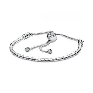Pave Heart Clasp Slider Bracelet