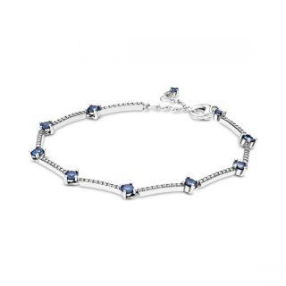 Blue Sparkling Pave Bars Bracelet