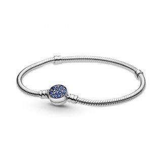 Sparkling Blue Disc Clasp Bracelet