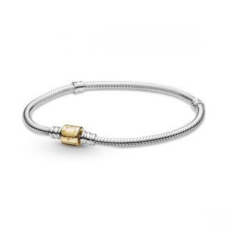 Two-tone Barrel Clasp Snake Chain Bracelet