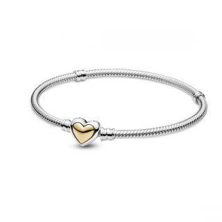 Domed Golden Heart Clasp Bracelet