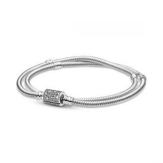 Double Wrap Barrel Clasp Snake Chain Bracelet