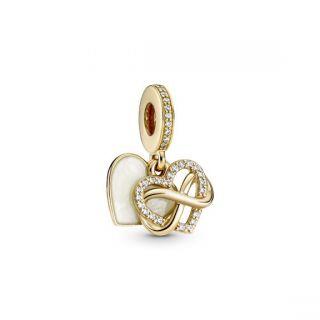 Sparkling Infinity Heart Dangle Charm - 14k