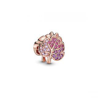 Sparkling Pave Leaf Charm - Pandora Rose