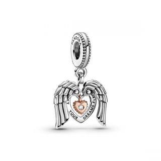 Angel Wings & Heart Dangle Charm - 2021 Pandora Club Charm