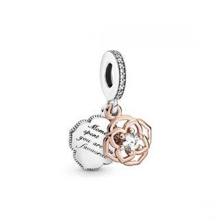 Two-tone Rose Dangle Charm - Pandora Rose
