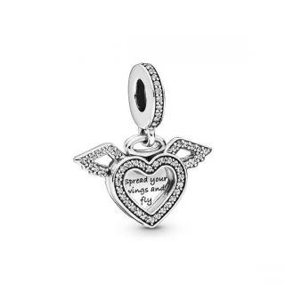 Heart & Angel Wings Charm