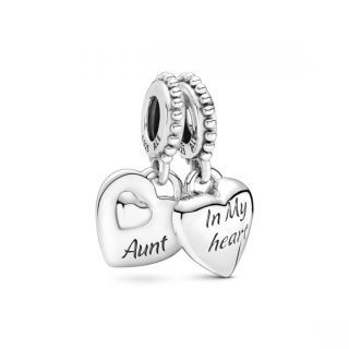 Aunt & Niece Split Heart Dangle Charm