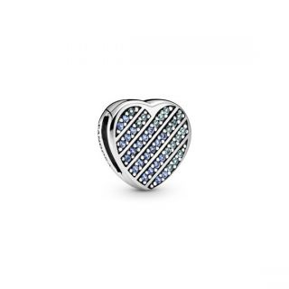 Pandora Reflexions™ Blue Pave Heart Clip