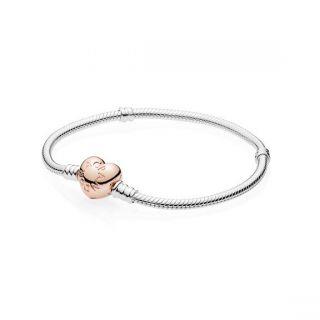 Silver Bracelet With PANDORA Rose Heart Clasp