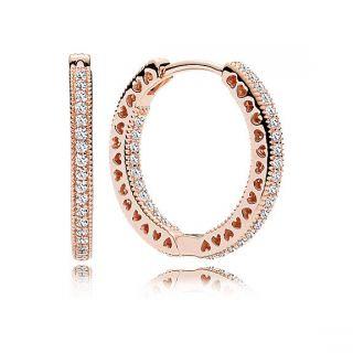 Hearts of PANDORA Earrings - PANDORA Rose™, 20 mm