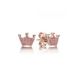 Pink Enchanted Crowns Stud Earrings - PANDORA Rose