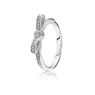 Sparkling Bow Silver Ring
