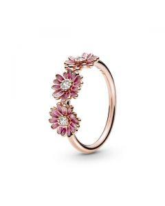 Pink Daisy Flower Trio Ring - Pandora Rose