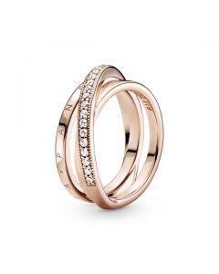 Crossover Pave Triple Band Ring - Pandora Rose