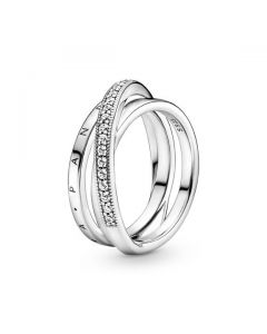 Crossover Pave Triple Band Ring