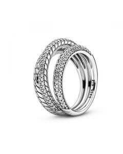 Triple Band Pave Snake Chain Pattern Ring