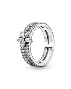 Sparkling Snowflake Double Ring
