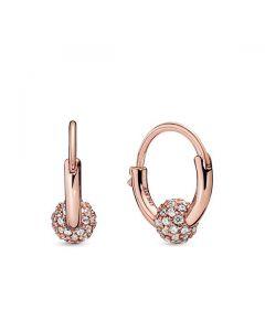 Pave Bead Hoop Earrings - Pandora Rose