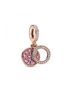 Sparkling Pink Disc Dangle Charm