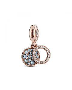 Sparkling Light Blue Disc Double Dangle Charm - Pandora Rose