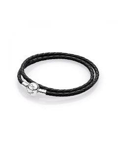 Double Black Leather Bracelet