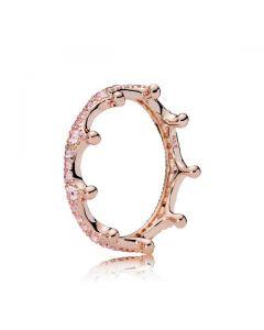 Pink Enchanted Crown Ring - PANDORA Rose